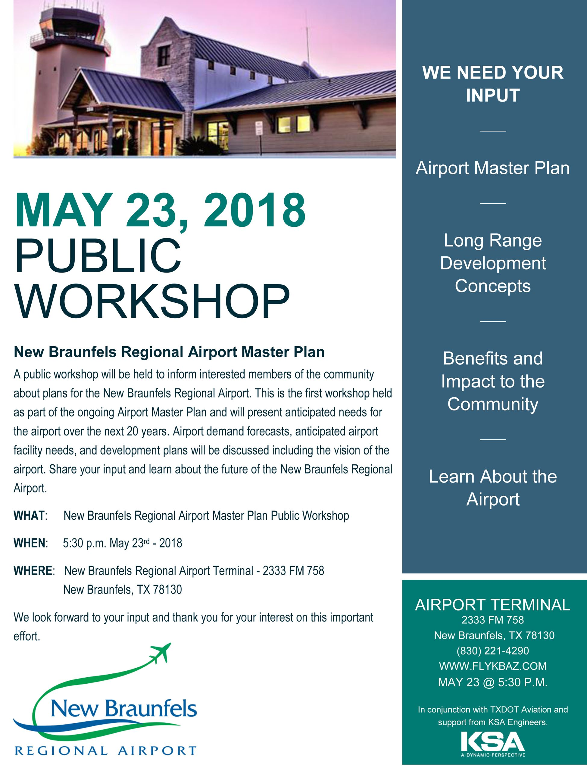 Airport Master Plan Public Meeting flyer