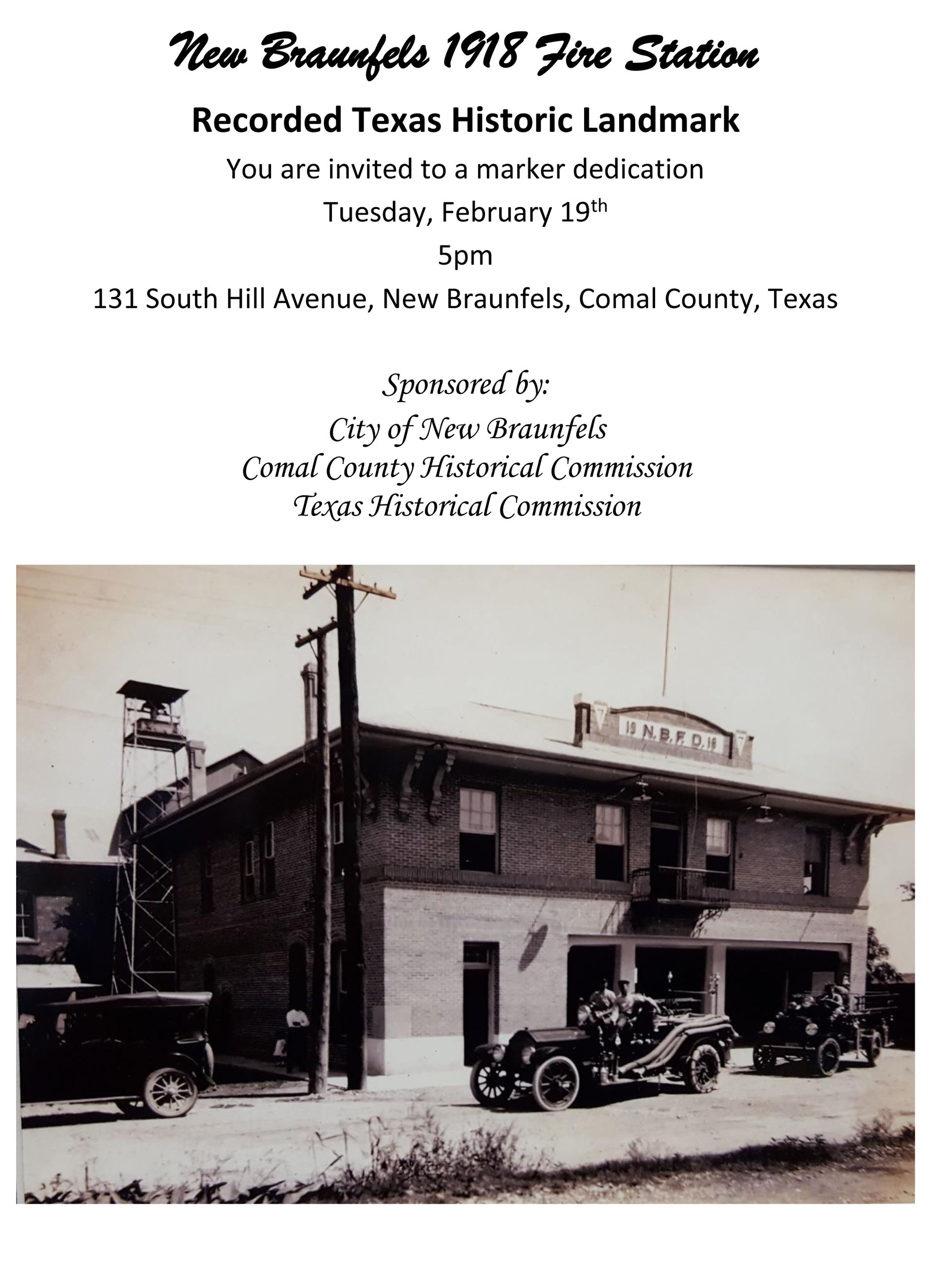 New Braunfels 1918 Fire Station Marker Dedication