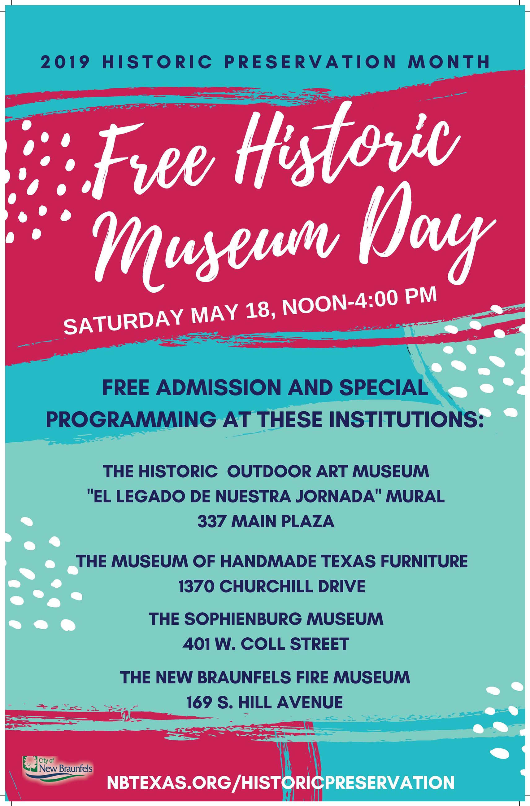 A brightly colored poster with information about free museum day