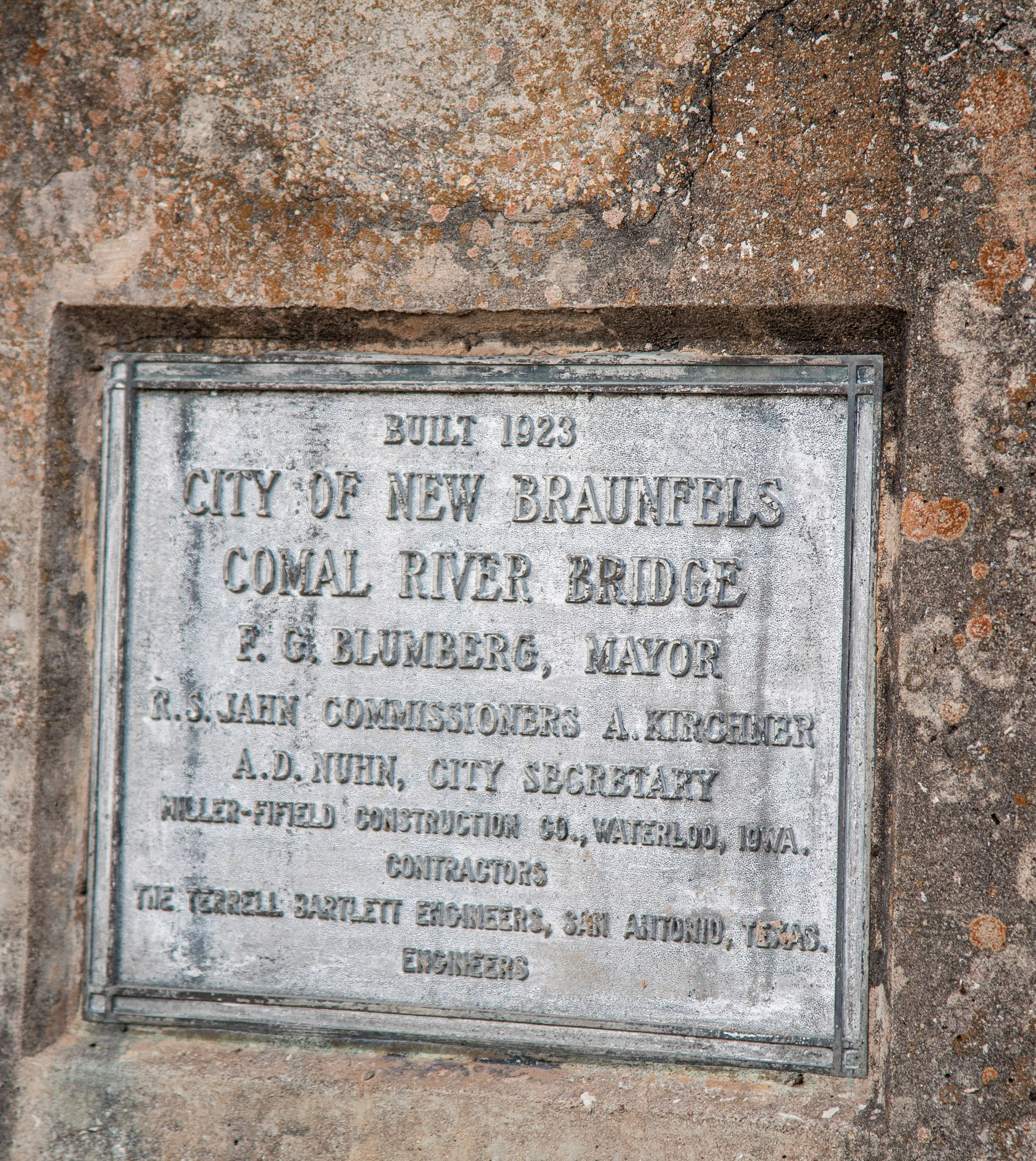 San Antonio Street Bridge Plaque