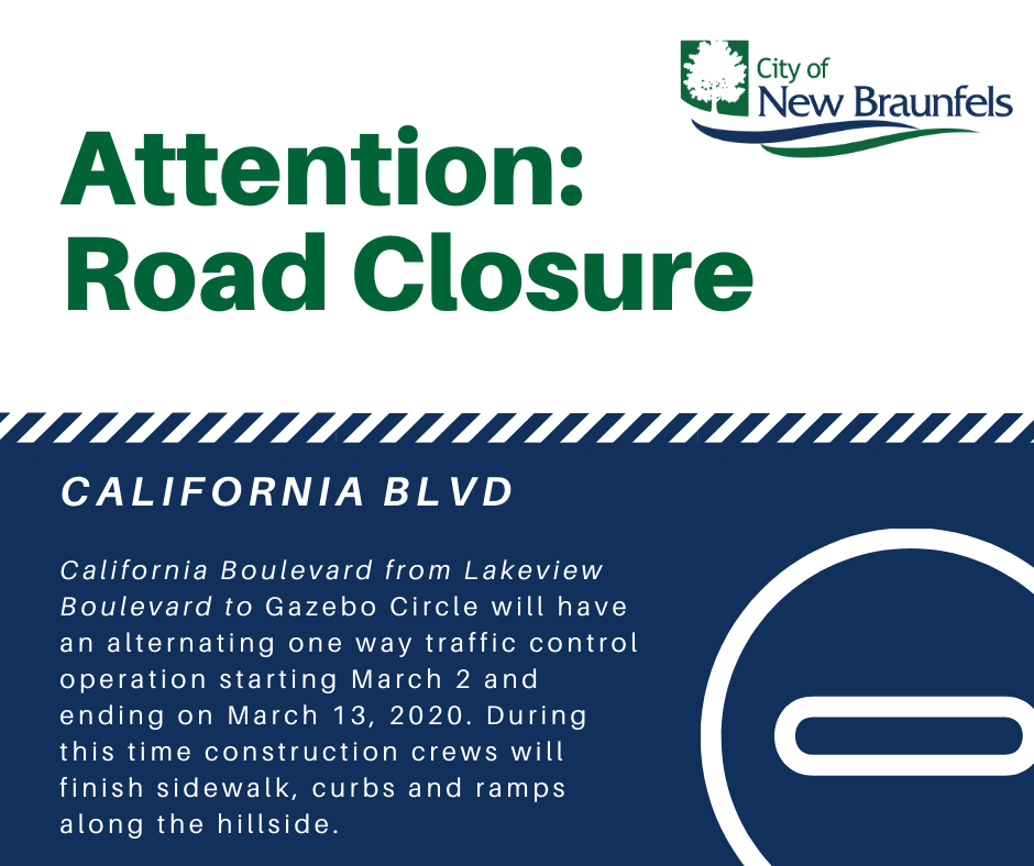 California Blvd Closure  2 27 2020