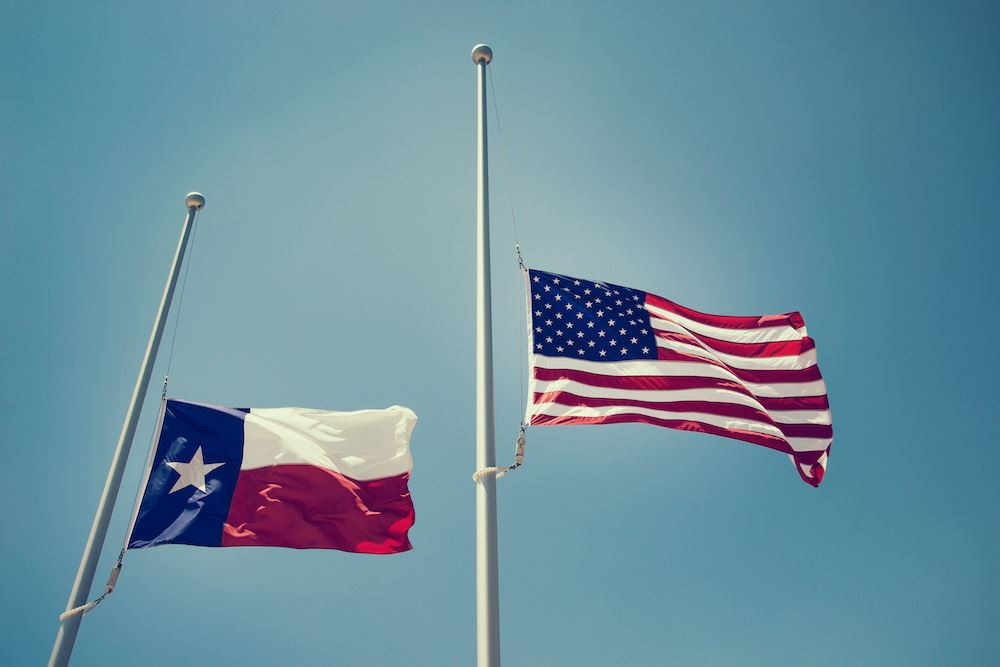Texas and American Flag