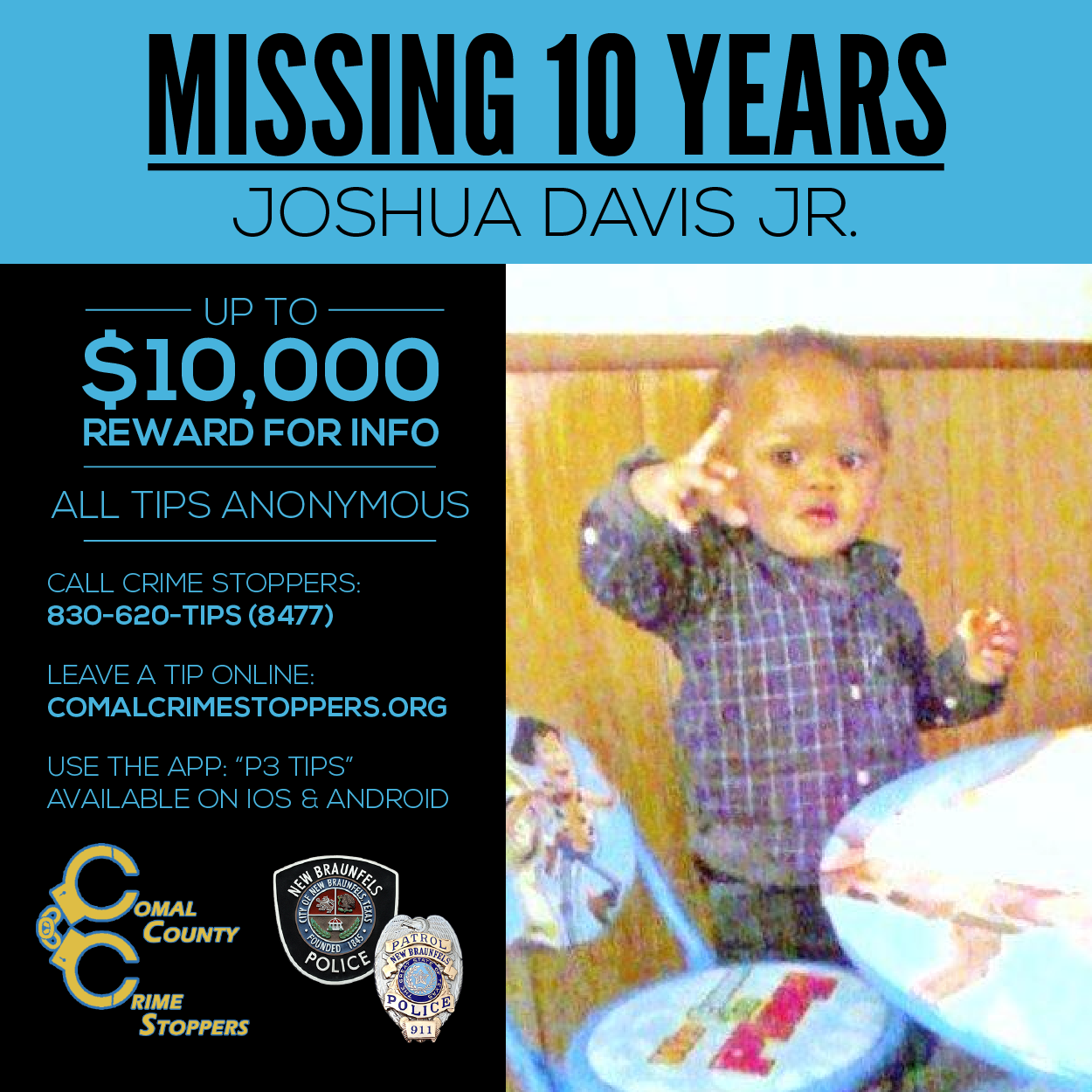 Baby Joshua Crime Stoppers Graphic
